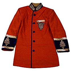AARYA Boy's Indo-Western Tomato Red Butti Work Dress with Gold Briches (Size 3-4 Years)