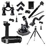 EEEKit 6 in 1 Travel Solution Kit for Kodak PixPro SP1/360,Shoulder Harness,Monopod Selfie Stick and Car Windshield/Bike Handlebar/Tripod/Wrist Mount