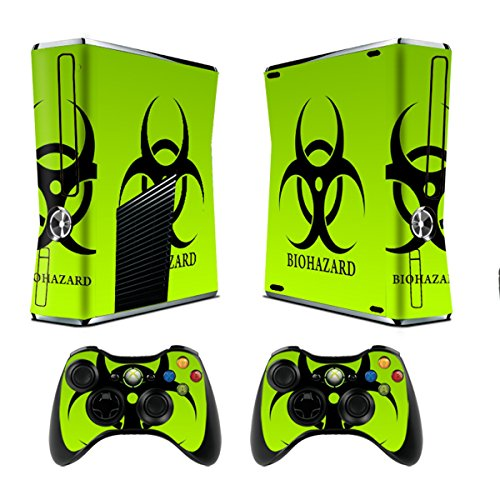 Xbox 360 Skin Sticker X360 Decals Custom Cover Skins Xbox360 Slim Modded Console Game Accessories Set Decal Xbox 360 S Stickers and 2 Wireless Remote Controllers – Biological Harzard by GameXcel ®