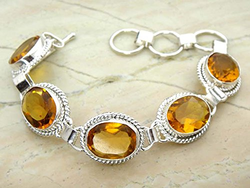 Genuine Citrine Quartz 925 Sterling Silver Overlay Handmade Fashion Bracelet Jewelry