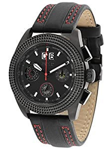 trendor 7637-08 Big Date Leather Chrono Mens Watch