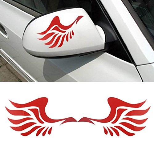Tonsee Mode Auto Flügeldesign 3D Dekoration Aufkleber für Auto Seite Spiegel Rearview (rot)