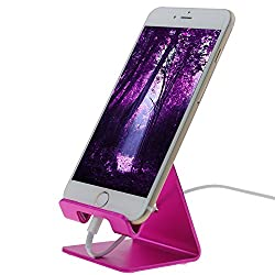 Litop Aluminum Cell Phone and Tablet Stand for Coby Samsung Apple Lenovo Dell Asus Google iPhone LG HTC Nokia Motorola iPhone 6 , Samsung Apple Lenovo Dell Asus Google iPhone LG HTC Nokia Motorola and All Other Mobile Phones (Aluminum Hot Pink)