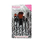 Profusion Makeup Brush And Comb Set, Zebra Theme All In One, Set Of 5