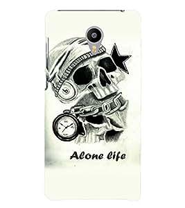 PrintVisa Villain Skull Bond Don Alone Life 3D Hard Polycarbonate Designer Back Case Cover for Meizu M3 Note