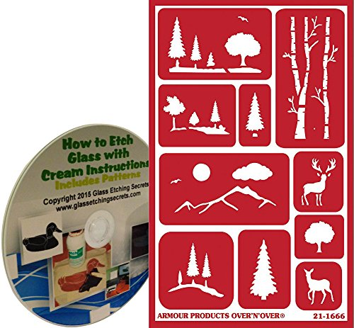 Scenic Landscape Glass Etching Stencils with Trees, Mountains & Deer + How to Etch CD (Glass Painting Stencils compare prices)
