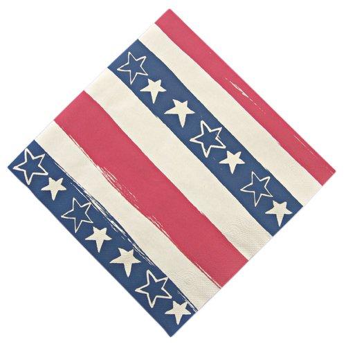 Meri Meri Stars And Stripes Patriotic 6-1/2-Inch Large Napkins, 20-Pack