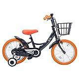 SHINE WOOD(シャインウッド) 子供用自転車 自転車 三輪車 幼児用自転車 16インチ 【泥除け付き カゴ付き 補助輪付き】 男の子 女の子 (ブラック+オレンジ)