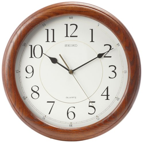 seiko-wall-clock-quiet-sweep-second-hand-dark-brown-solid-oak-case