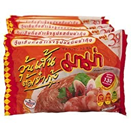Mama Instant Bean Vermicelli Noodles Tom Yum 40g. (Pack 6)