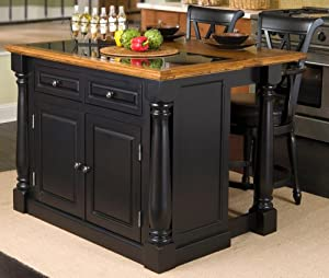 Home Styles 5009 948 Monarch Granite Top Kitchen Island With 2 Stool Black Finish