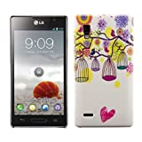 Kwmobile Hard case Bird cage for LG Optimus L9 P760 in White Hot Pink