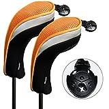 Andux ゴルフ ハイブリッド クラブヘッドカバー 交換可能な番号タグ付き 2 個セット (ブラック/オレンジ)
