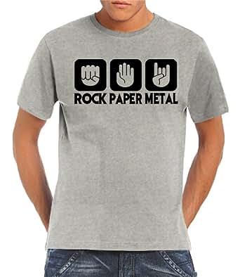 Touchlines Herren  T-Shirt Stein Papier Rock  Heavy Metal, ash, S, B1910