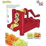 Chef's Star Spiralizer Omni-Blade Spiral Vegetable Slicer , Peeler & Shredder (Red)