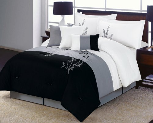 Epic Alyssa Comforter Set Black White Gray Vine QUEEN Bed In A Bag with accent pillows