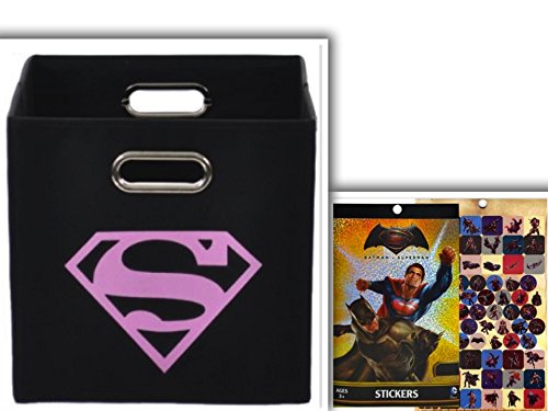 Pink Superman Logo Folding Storage Bin & Batman v Superman Sticker Collection Set of 270+ Stickers (Seal Team Seven 21 compare prices)
