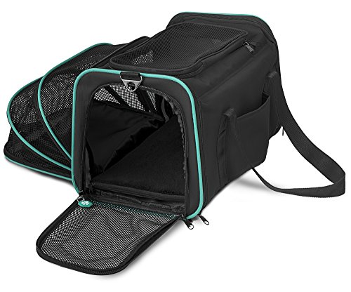 Pawdle Expandable and Foldable Pet Carrier Domestic Airline Approved (Black)