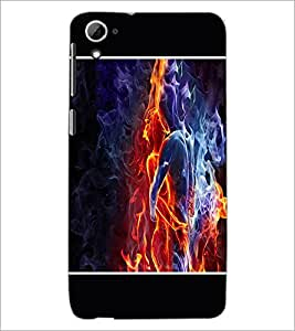 PrintDhaba Fire Couple D-1331 Back Case Cover for HTC DESIRE 826 (Multi-Coloured)