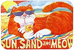Carolines Treasures 6050CMT Orange Tabby At the Beach Kitchen or Bath Mat, 20 by 30 , Multicolor