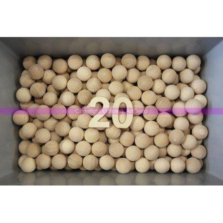 Lot de 50 Boules diam. 20 mm, Billes pleines en bois non traité, non percées