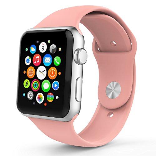 Apple Watch Bracciale, MoKo Morbido Cinturino di ricambio in silicone per Tutti i Modelli Apple Watch 38mm, ROSA Vintage (3 pezzi di bande inclusi per 2 lunghezze, Non adatta Apple Watch 42mm 2015)