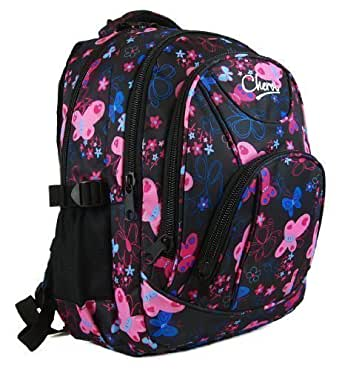 High Quality Small Large Womens Girls Butterfly Hearts Chervi College School Backpack Hand Luggage Bag (Large, Black Butterfly)