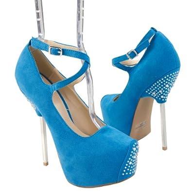 Qupid Women's TREASURE06 Silver Metal Stick Heel X-Strap Criss-Cross Rhinestone Platform High Heel Pump Shoes, Turquoise Blue Faux Suede Leather, 10 B (M) US