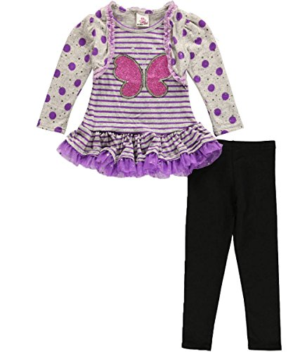 "Real Love Little Girls' ""Glitter Bug"" 2-Piece Outfit - Purple/Black, 4 front-688673"