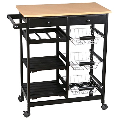 ?NEW BIG SALE? Merax Kitchen Storage trolley cart Black Fashion Kitchen Trolley With  sc 1 st  Shopswell & NEW BIG SALE? Merax Kitchen Storage trolley cart Black Fashion ...