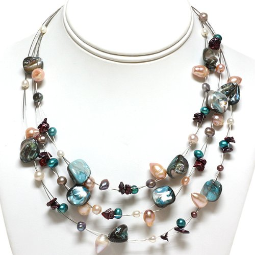 3-Row Multi-Color Genuine Freshwater Pearl Necklace 16