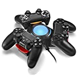 Vinpie PS4 Controller Charger Docking Station Tripple Charging Station with BLUE LED LIGHT for PS4 Playstation 4 DS4 DualShock 4 Controllers