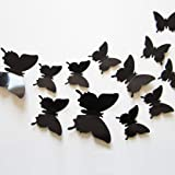 24pcs 3D Butterfly Removable Mural Stickers Wall Stickers Decal for Home and Room Decoration (Black) (Color: Black)