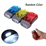 Outdoor Camping No Battery Hand Press Flash Light Flashlight Torch 3 LED Dynamo for Survival Camping Hiking Fishing Hunting Outside Sports,Random Color