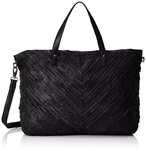 PIECES Pcbondy Leather Travel Bag, Borsa con Maniglia Donna, Nero (Black), 47x37x23 cm (B x H x T)