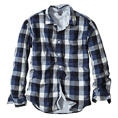 (エディー・バウアー) Eddie Bauer 長袖ダブルフェイスパターンシャツ(ダークネイビー L)