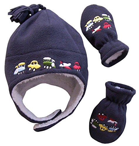 N'Ice Caps Boys Sherpa Lined Micro Fleece Embroidered Hat and Mitten Set (6-18 months, Infant - Charcoal)