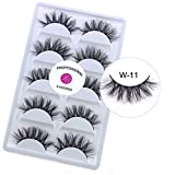 3D Real Mink False Eyelashes LASGOOS Siberian Cruelty-free Luxurious Messy Cross Fake Eye Lashes Makeup 5 Pairs/Box (W11-5Pairs) (Color: Black, Tamaño: W11-5Pairs)