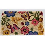 Homescapes - Door Mat - Spring Butterfly Summer Garden - 45 x75 cm - 100% Natural Coir - Indoor and Outdoor Doormatby Homescapes