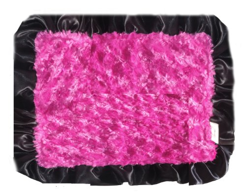 Patricia Ann Designs Satin Swirl Travel Silkie With Ruffled Trim, Hot Pink With Black front-736258