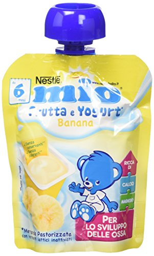 Nestlé Mio Merenda Frutta e Yogurt da Spremere Banana senza Glutine da 6 Mesi - 16 pezzi da 90 ml [1440 ml]