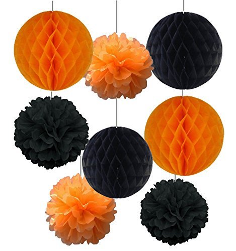 SUNBEAUTY Halloween Series Halloween Decoration 4pcs Orange and Black Honeycomb Balls Mixed 4 pcs Orange and Black Paper Flower Tissue Pompoms Halloween Accessory Party Decoration (HW-11)