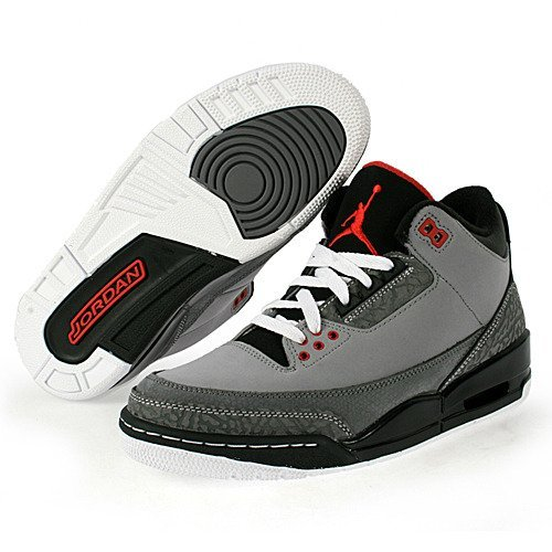 NIKE AIR JORDAN 3 RETRO MENS 136064-003 (7.5, STEALTH / VARSITY RED - LT GRPHT - BLACK)