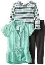 Little Lass Baby-Girls Infant 3 Piece Cable Knit Bow Sweater Set, Mint, 12 Months