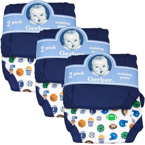 Gerber Training Pants (6-Pairs), 2T, Boy'S Colors - Fits 28-32 Lbs.