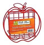 Belle Fleur Apple Suet Bird Feeder, Red, One Suet Cake Capacity