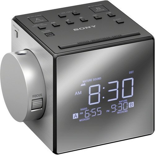 Sony Compact Am/Fm Dual Alarm Clock Radio With Large Led Display, Soothing Nature Sounds, Time Projection, Usb Port, Gradual Wake Alarm, Adjustable Brightness, Plus Built In Backup Battery