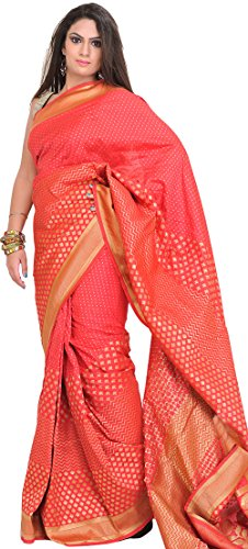 Exotic India Rouge-Red Sari from Banaras with Woven Bootis in Zari Thread - Pink (Pink Indian Sari Adult Costume)