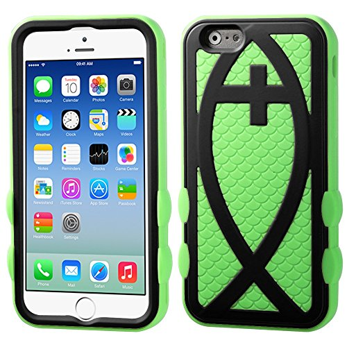 """Apple Iphone 6 4.7"""" Electric Green Black Fish Hybrid Protector Cover Snap On Hard Durable Armor Case Cell Phone Shield Protector Shell From [Accessory Library]"""