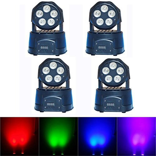 Yiscortm Stage Lighting Led Moving Head Beam Light Rgbwauv (6-In-1) 5 X 18W 5Leds Dmx512 14 Channels For Xmas Christmas Birthday Home Garden Party Club Disco Effect (Pack Of 4)